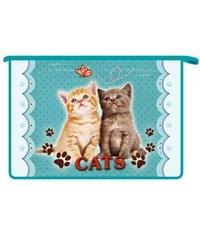 """Папка для тетрадей, Оникс """"Cats"""", А4, на молнии, пластик"""