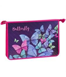 "Папка для труда 2 отд., А4, ArtSpace ""Летящие бабочки"", пластик-картон, конгрев,блестки, на молнии"