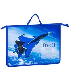 """Папка с ручками А4 ArtSpace """"Военный самолёт"""", ручка шнурок, пластик, 45мм"""