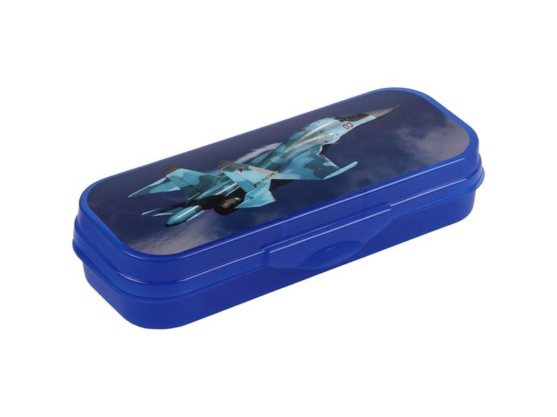 """Пенал-футляр 210*90*40 Стамм """"Самолет"""", пластик, синий"""