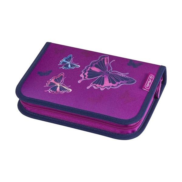 Пенал школьный Herlitz Glitter Butterfly с наполнением 31 предмет