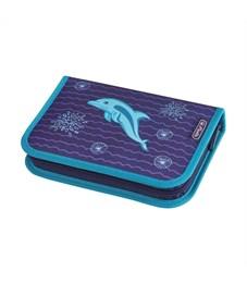 Пенал школьный Herlitz Dolphin с наполнением 31 предмет