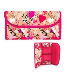 Пенал-кошелёк ВАЛЕНТИНКИ, без наполнения,  ткань, дизайн, на липучке, 220х115 мм