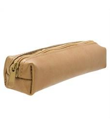 Пенал-тубус на молнии , 1 отд. без наполн., разм. 20x4x4 см, светло-коричневый, унисекс, н/ кожа