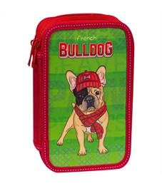 """Пенал 3 отделения, 190*110 ArtSpace """"Bulldog"""", ламинированный картон, когрев, блестки"""