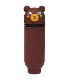 """Пенал мягкий 200*55*50 Berlingo """"Bear"""", силикон, коричневый"""