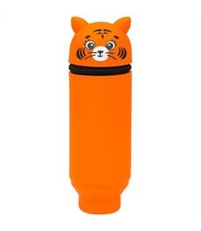 """Пенал мягкий 200*55*50 Berlingo """"Tiger"""", силикон, рыжий"""
