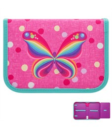 Пенал на молнии NATURE QUEST RAINBOW BUTTERFLY,1 отд,1 отк.планка, б/наполн,р.19.5x13.5x3.см, д/дев