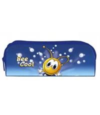Пенал школьный Оникс Пчелка на синем 2 отделения на молнии