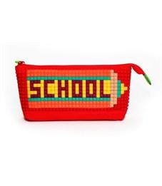 Пенал школьный 4ALL Kids красный с набором битов