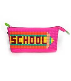 Пенал школьный 4ALL Kids розовый с набором битов
