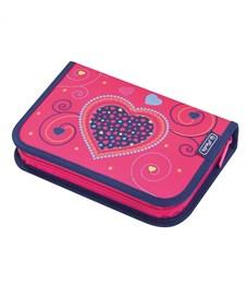 Пенал школьный Herlitz Pink Hearts с наполнением, 31 предмет