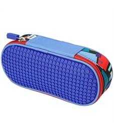 Пенал школьный пиксельный Super class pencil case WY-B012 Синий принт