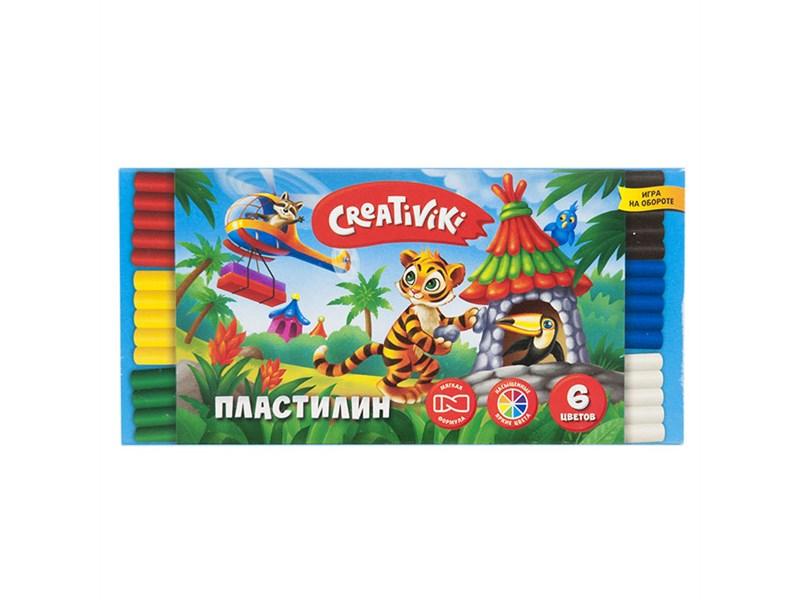 Пластилин CREATIVIKI 6 цветов 90 г.