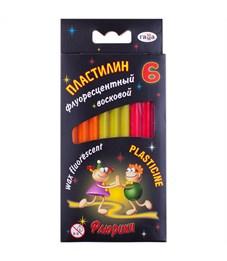 """Пластилин Гамма """"Флюрики"""", 06 цветов, флуоресцентный, со стеком, картон, европодвес"""