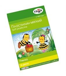 """Пластилин Гамма """"Пчелка"""", 08 цветов, восковой, мягкий, 120г, со стеком, картон"""