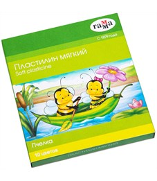 """Пластилин Гамма """"Пчелка"""", 10 цветов, восковой, 150г, со стеком, картон"""