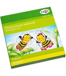 """Пластилин Гамма """"Пчелка"""", 12 цветов, восковой, 180г, со стеком, картон"""