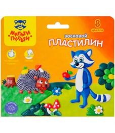 """Пластилин Мульти-Пульти """"Енот в лесу"""", 08 цветов, 120г, восковой, со стеком, картон, европодвес"""