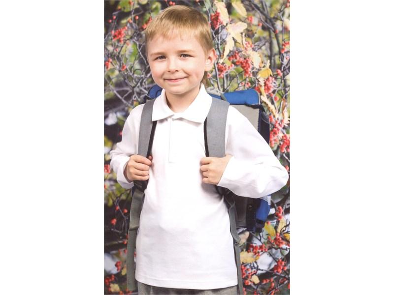 Поло для мальчика Снег белое длинный рукав  914-БИ
