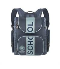 RA-540-8 Ранец школьный Grizzly с мешком для обуви синий-серый