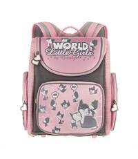 RA-541-10 Рюкзак школьный с мешком для обуви серый - розовый