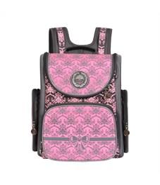 RA-668-8 Рюкзак школьный Grizzly серый-розовый