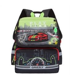 RA-777-1 Рюкзак школьный Grizzly черный-салатовый