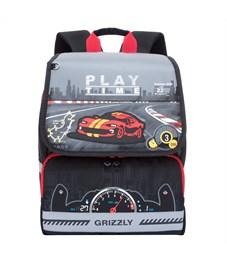 RA-777-1 Рюкзак школьный Grizzly черный-серый