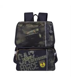RA-777-2 Рюкзак школьный Grizzly черный-оливковый