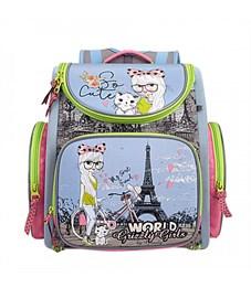 RA-871-3 Рюкзак школьный Grizzly с мешком (/1 голубой)