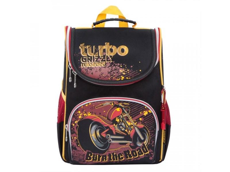 69db22c403ad RA-872-5 Рюкзак школьный Grizzly с мешком (/1 черный - красный)