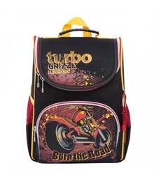 RA-872-5 Рюкзак школьный Grizzly с мешком (/1 черный - красный)