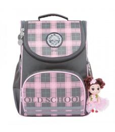 Рюкзак школьный Grizzly RA-873-6 с мешком (/2 серый - розовый)