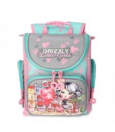 RA-971-3 Рюкзак школьный (/1 серый - розовый)