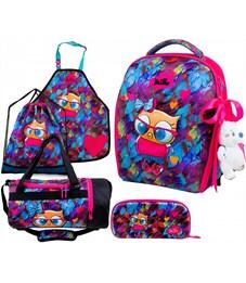 Ранец школьный DeLune 7mini-015 Full-set + мешок + пенал + сумка + фартук + мишка