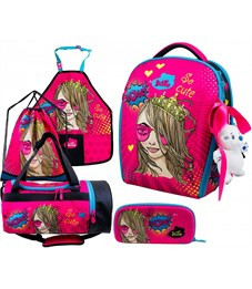 Ранец школьный DeLune 7mini-022 Full-set + мешок + пенал + сумка + фартук + мишка