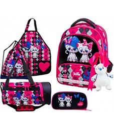 Ранец школьный DeLune 9-124 Full-set + мешок + пенал + сумка + фартук + мишка