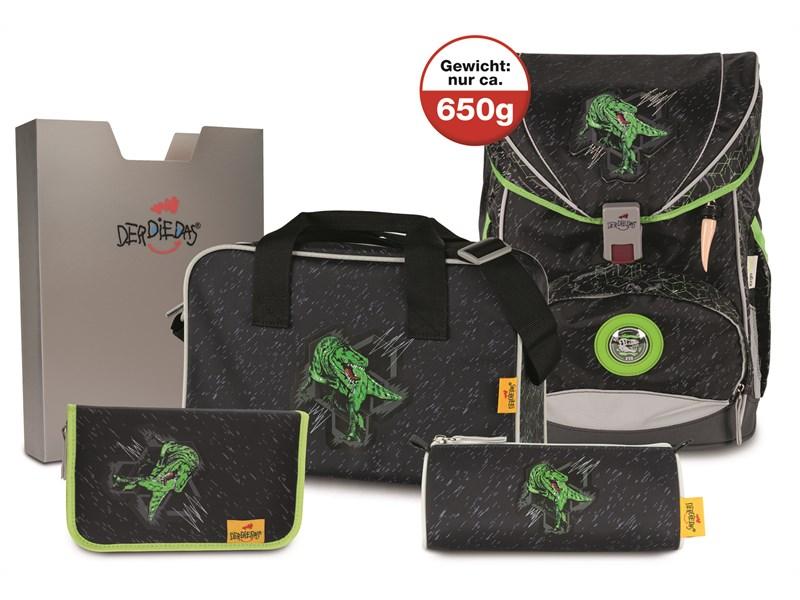 Школьный ранец DerDieDas ErgoFlex Superlight Зеленый Динозавр с наполнением