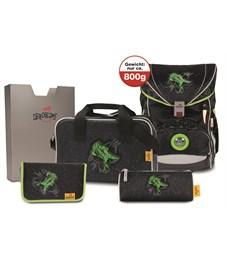 Школьный ранец DerDieDas ErgoFlex Зеленый Динозавр с наполнением