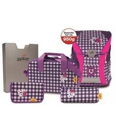 Школьный ранец DerDieDas ErgoFlex Vario Фиолетовая клетка с наполнением