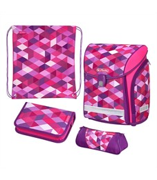 Ранец школьный Herlitz Midi New Plus Pink Cubes с наполнением