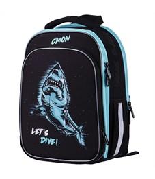 """Ранец Berlingo Expert Plus """"Shark"""" 37*28*18 см, 3 отделения, 2 кармана, анатомическая спинка"""