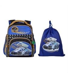 Ранец школьный Across Мотоцикл 190-3 с мешком для обуви