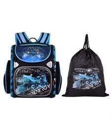Ранец школьный Across Мотоцикл Синий 197-3 с мешком для обуви