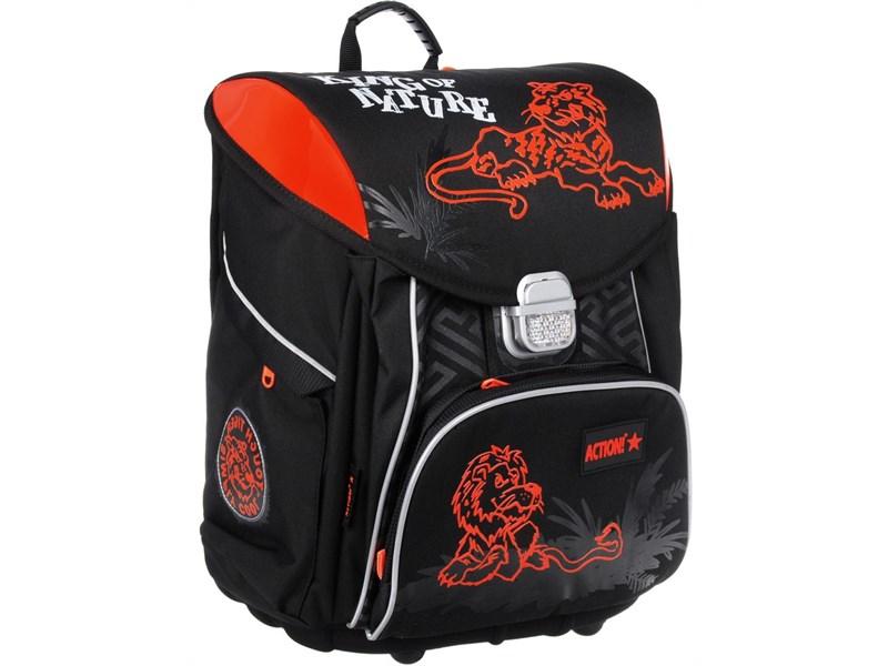 Ранец школьный Action! чёрно-оранжевый с наполнением