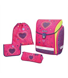 Ранец школьный Herlitz NEW Midi Plus Pink Hearts с наполнением