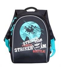 RB-628-2 Рюкзак школьный Grizzly черный-бирюзовый
