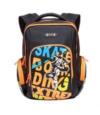 RB-630-2 Рюкзак школьный Grizzly черный-оранжевый
