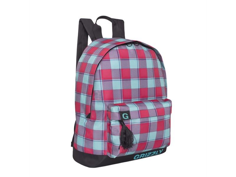 RD-750-6 Рюкзак школьный Grizzly клетка бирюзово-малиновая